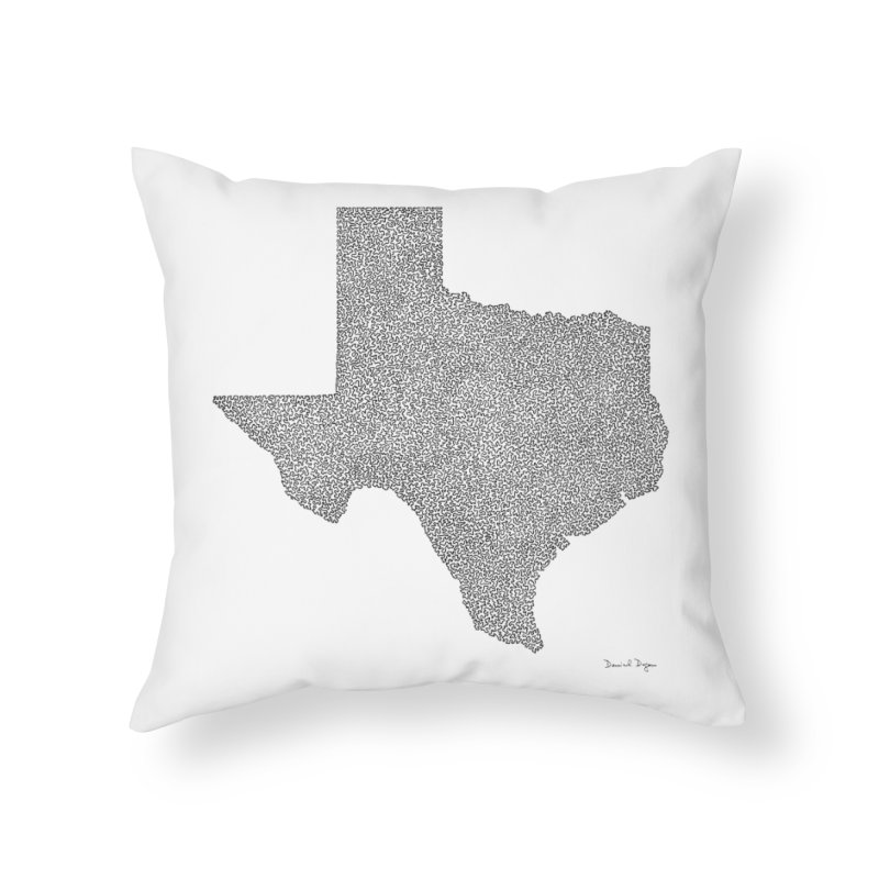 Texas -  Once Continuous Line Home Throw Pillow by Daniel Dugan's Artist Shop