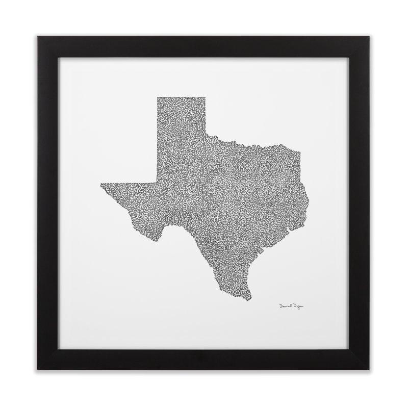 Texas -  Once Continuous Line Home Framed Fine Art Print by Daniel Dugan's Artist Shop