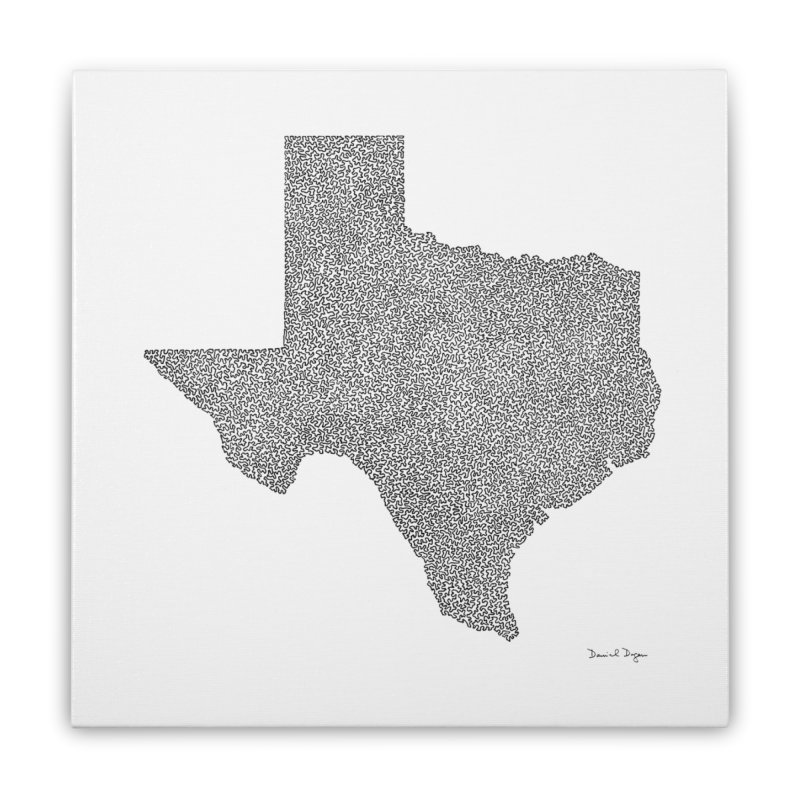 Texas -  Once Continuous Line Home Stretched Canvas by Daniel Dugan's Artist Shop
