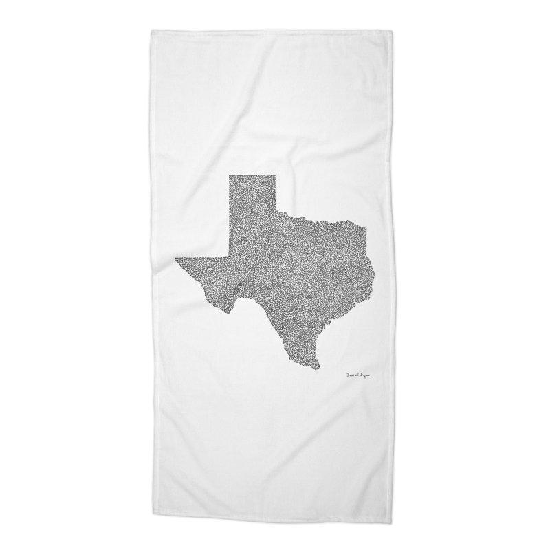 Texas -  Once Continuous Line Accessories Beach Towel by Daniel Dugan's Artist Shop