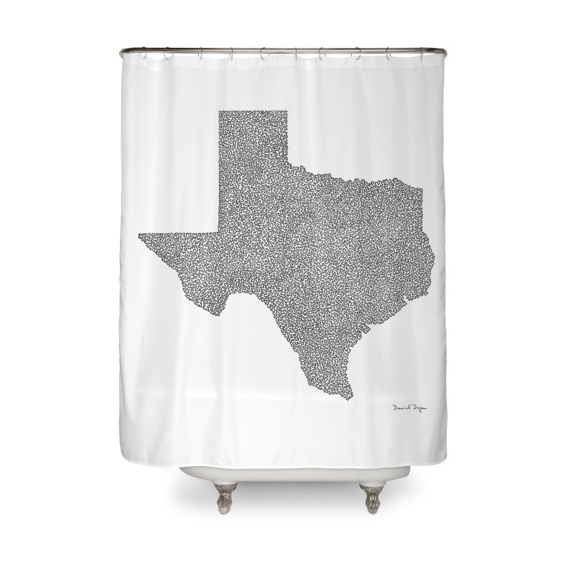 Texas -  Once Continuous Line Home Shower Curtain by Daniel Dugan's Artist Shop