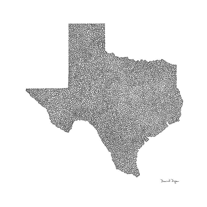 Texas -  Once Continuous Line by Daniel Dugan's Artist Shop