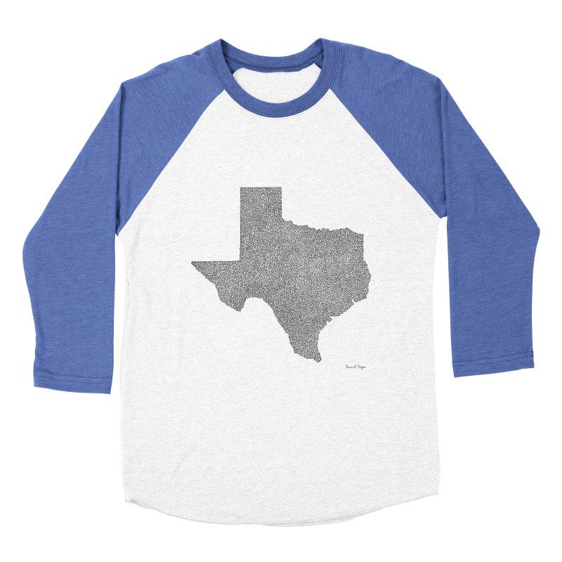 Texas -  Once Continuous Line Men's Baseball Triblend T-Shirt by Daniel Dugan's Artist Shop