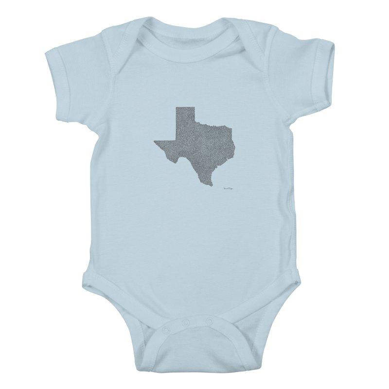 Texas -  Once Continuous Line Kids Baby Bodysuit by Daniel Dugan's Artist Shop