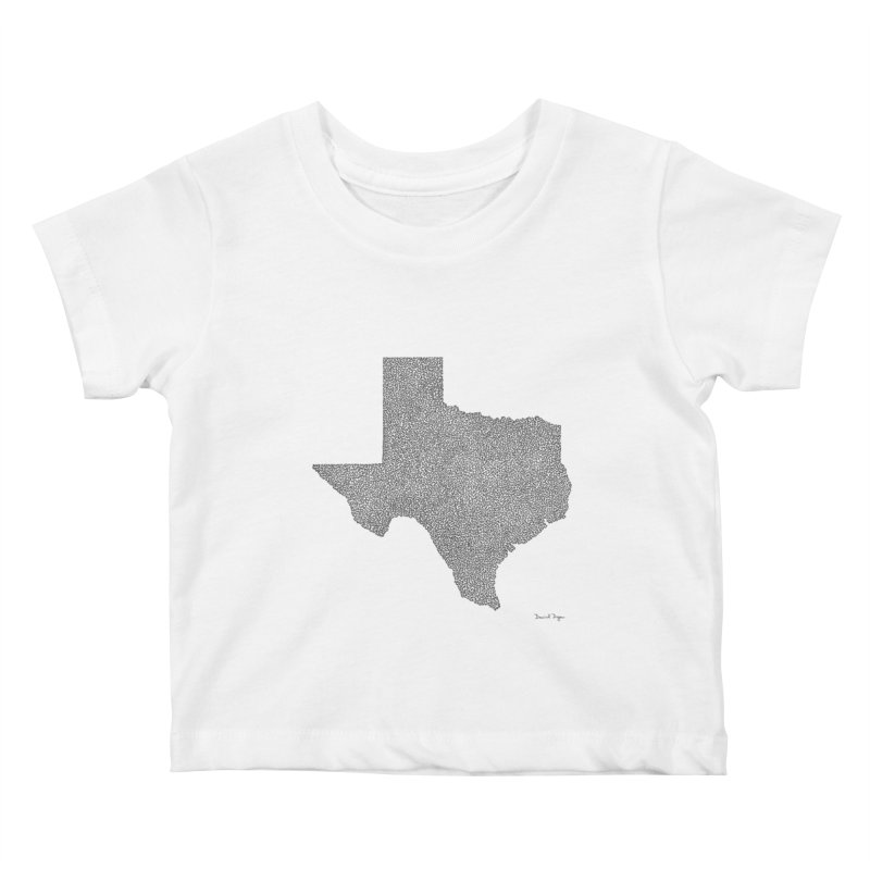 Texas -  Once Continuous Line Kids Baby T-Shirt by Daniel Dugan's Artist Shop