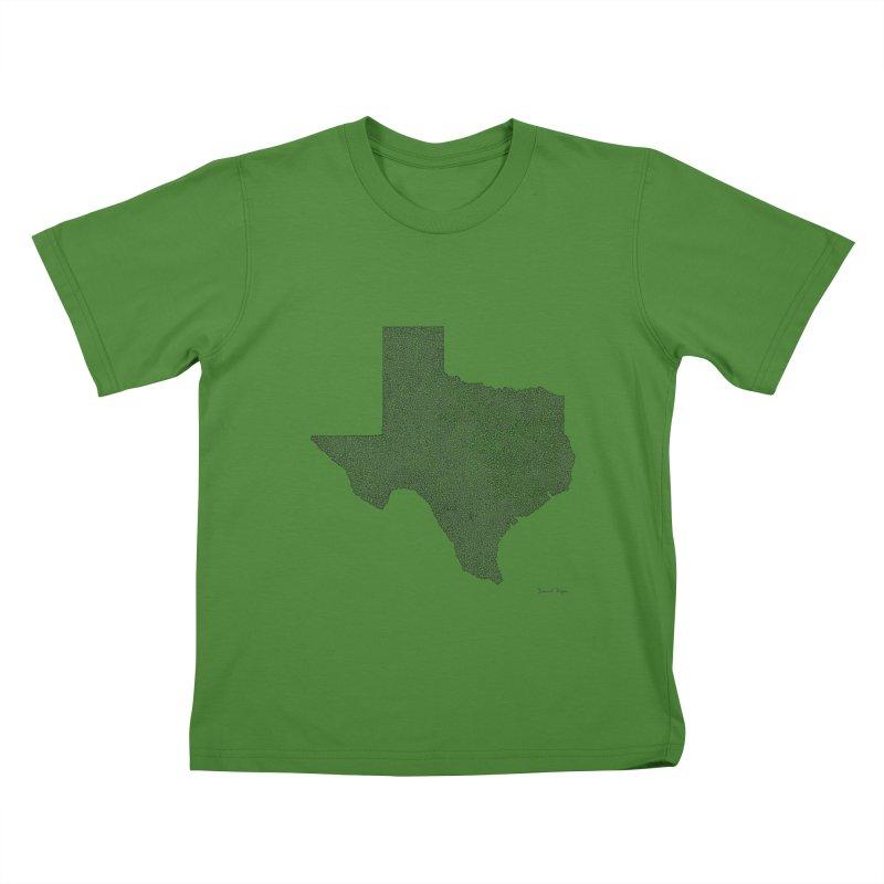 Texas -  Once Continuous Line Kids T-Shirt by Daniel Dugan's Artist Shop