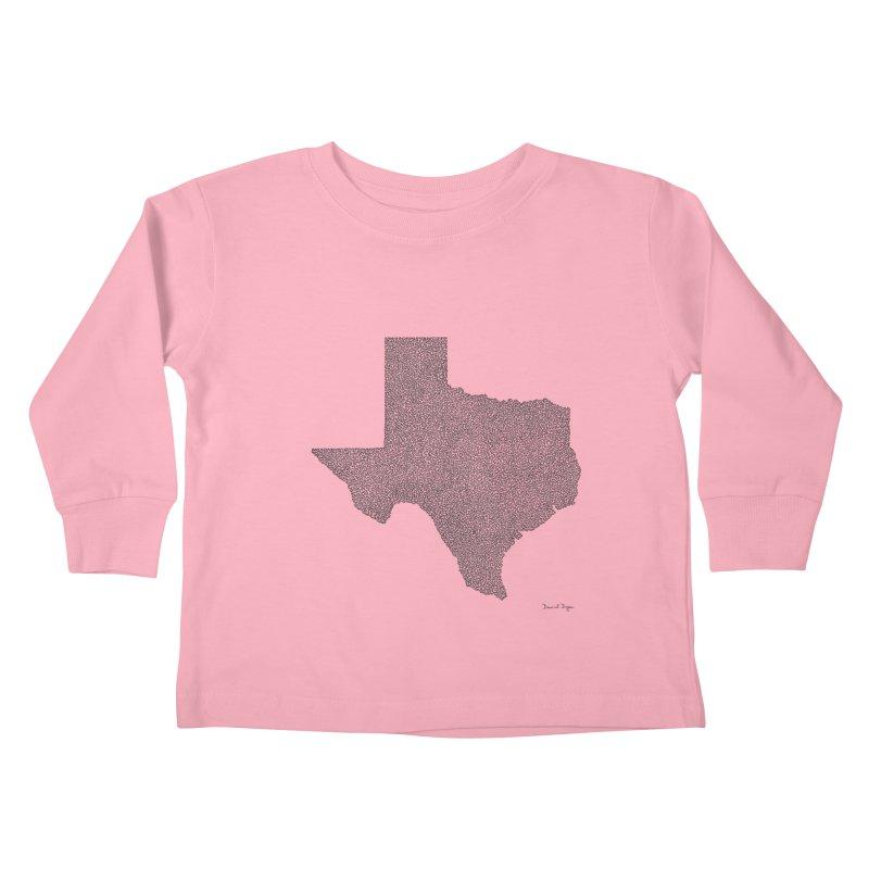 Texas -  Once Continuous Line Kids Toddler Longsleeve T-Shirt by Daniel Dugan's Artist Shop