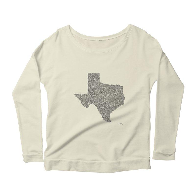 Texas -  Once Continuous Line Women's Longsleeve Scoopneck  by Daniel Dugan's Artist Shop