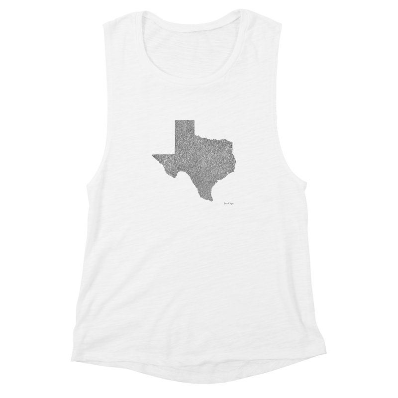 Texas -  Once Continuous Line Women's Muscle Tank by Daniel Dugan's Artist Shop