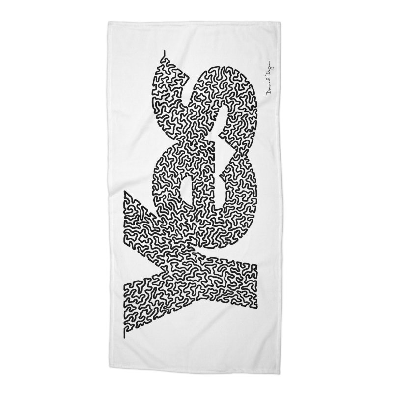 Yes (Black) - One Continuous Line Accessories Beach Towel by Daniel Dugan's Artist Shop