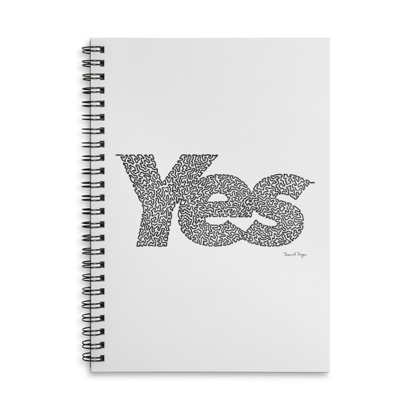 Yes (Black) - Multiple Colors + 40 Other Products Accessories Lined Spiral Notebook by Daniel Dugan's Artist Shop