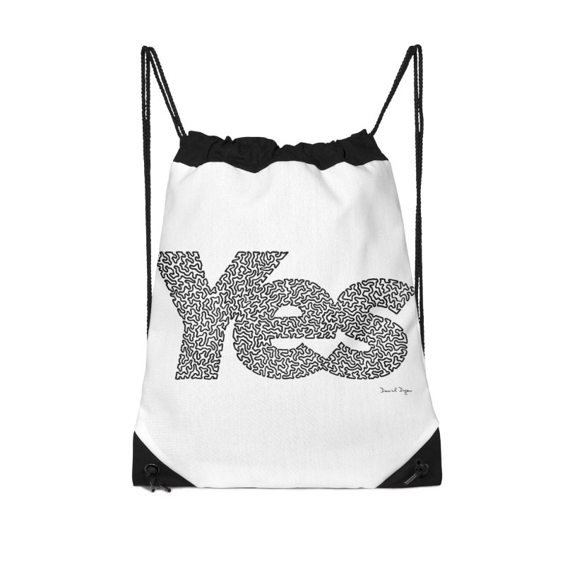 Yes (Black) - Multiple Colors + 40 Other Products Accessories Drawstring Bag Bag by Daniel Dugan's Artist Shop