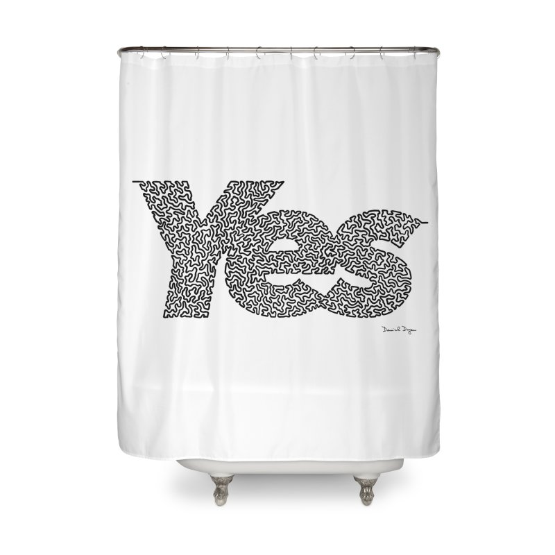 Yes (Black) - Multiple Colors + 40 Other Products Home Shower Curtain by Daniel Dugan's Artist Shop
