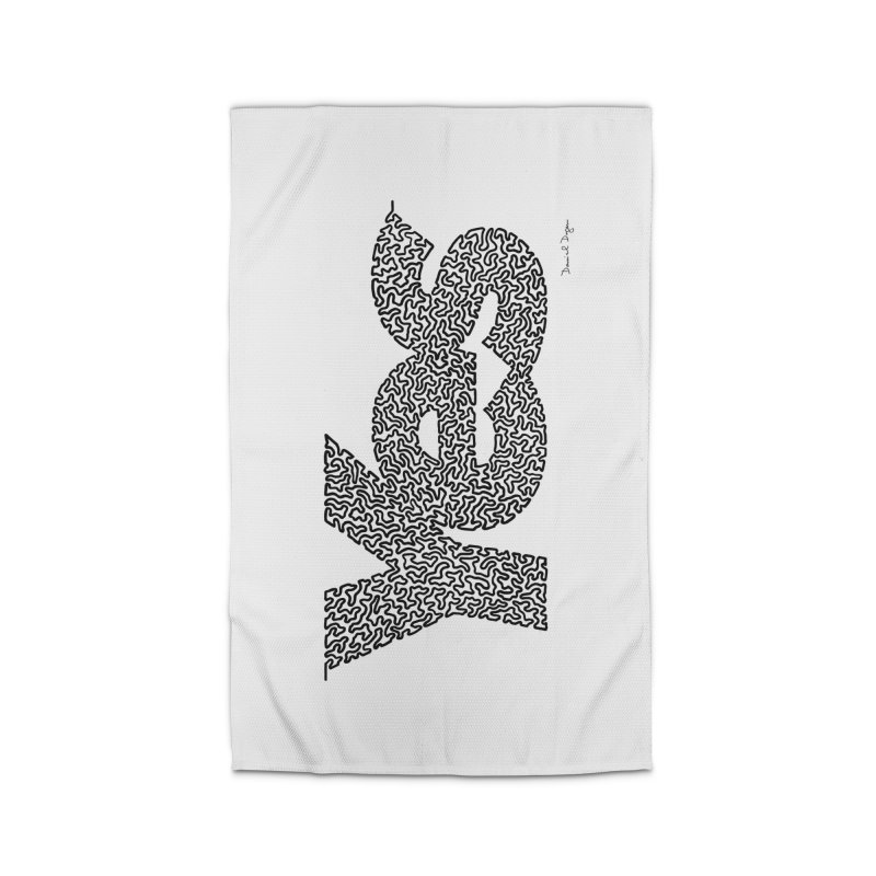Yes (Black) - One Continuous Line Home Rug by Daniel Dugan's Artist Shop