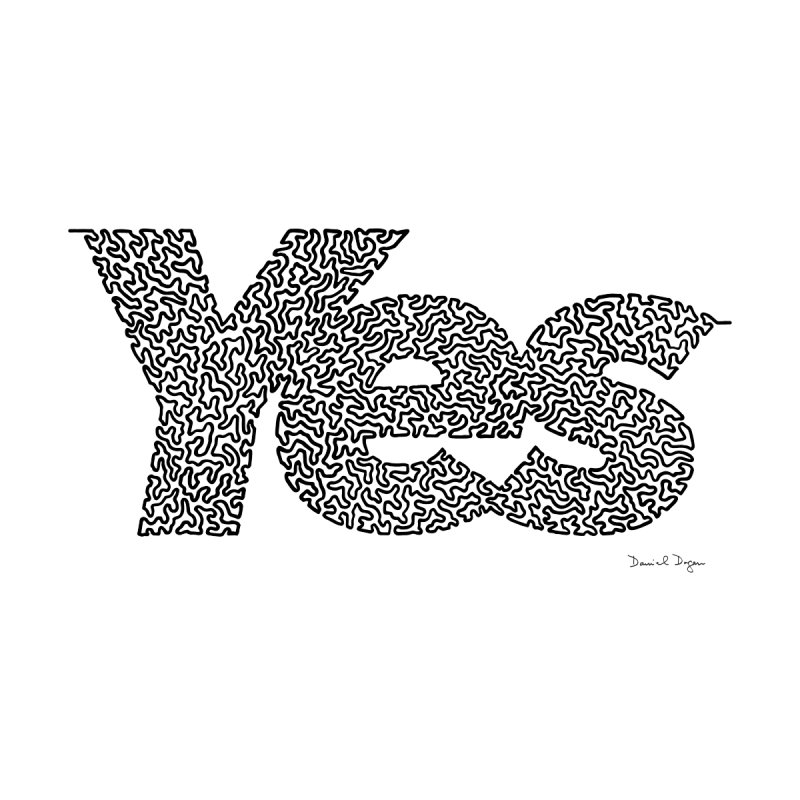 Yes (Black) - One Continuous Line None  by Daniel Dugan's Artist Shop