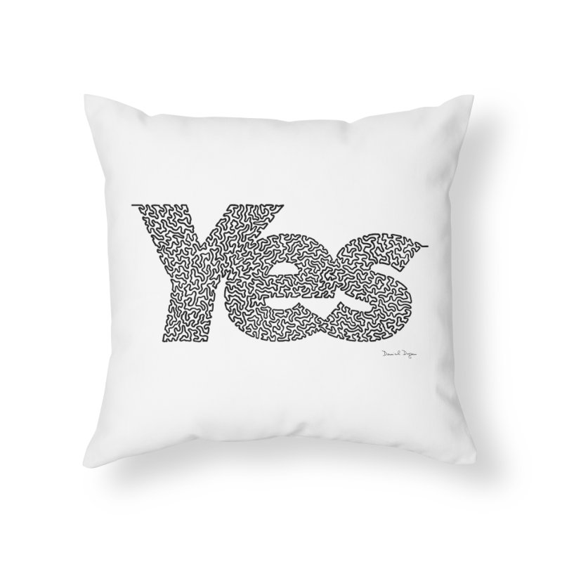 Yes (Black) - One Continuous Line Home Throw Pillow by Daniel Dugan's Artist Shop