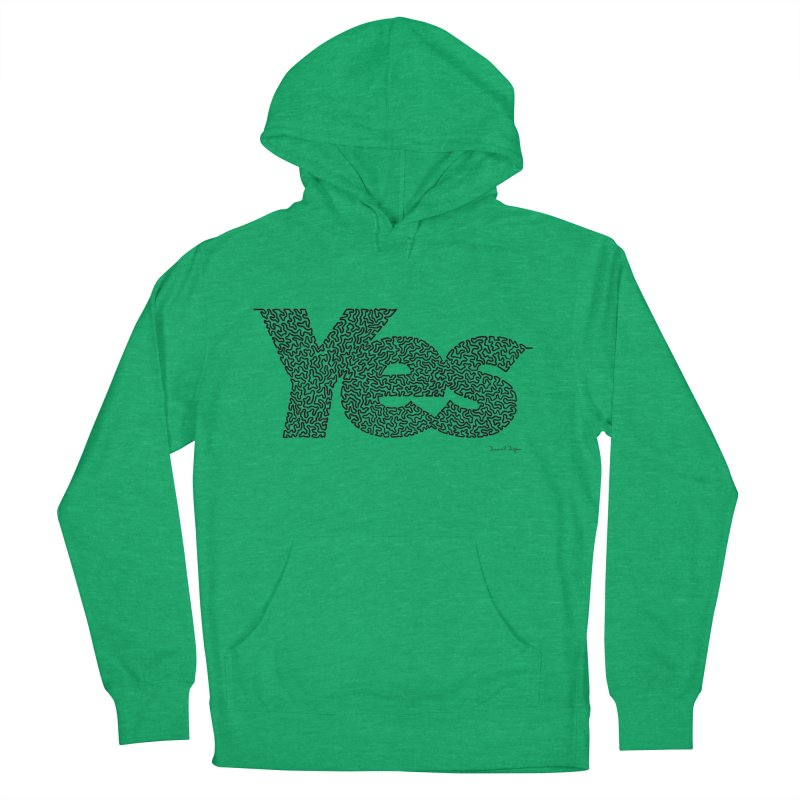 Yes (Black) - One Continuous Line Women's Pullover Hoody by Daniel Dugan's Artist Shop