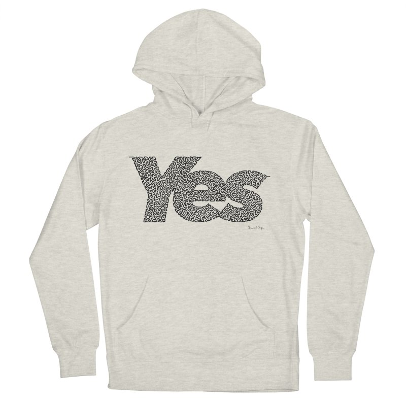 Yes (Black) - One Continuous Line Men's French Terry Pullover Hoody by Daniel Dugan's Artist Shop