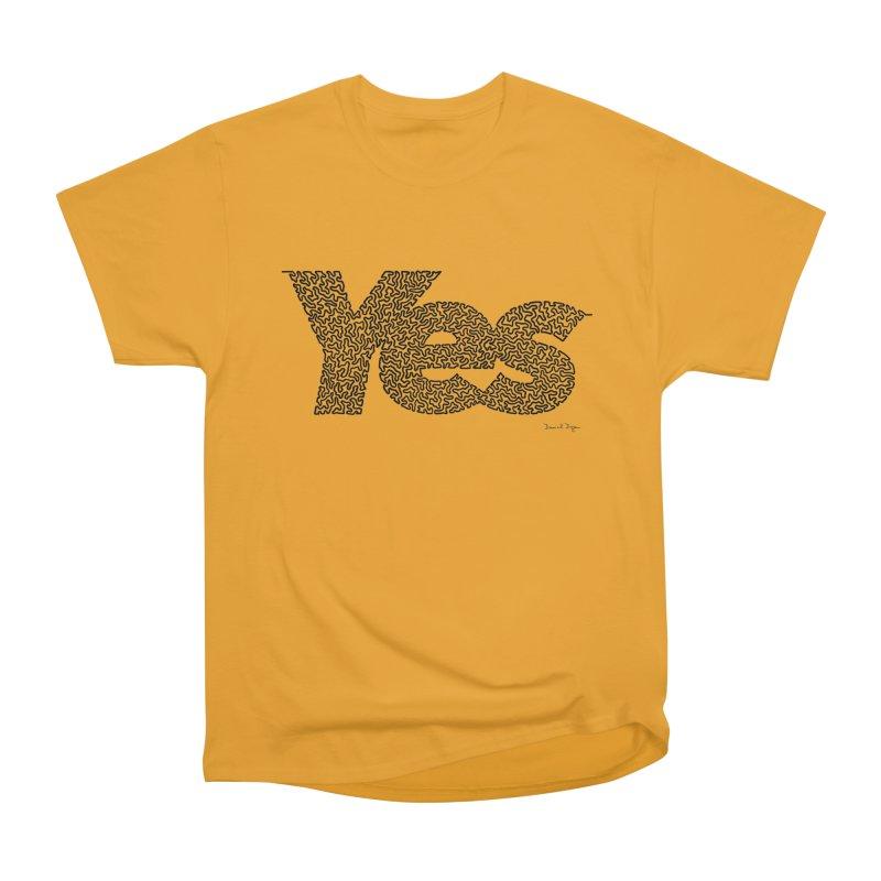 Yes (Black) - One Continuous Line Men's Heavyweight T-Shirt by Daniel Dugan's Artist Shop