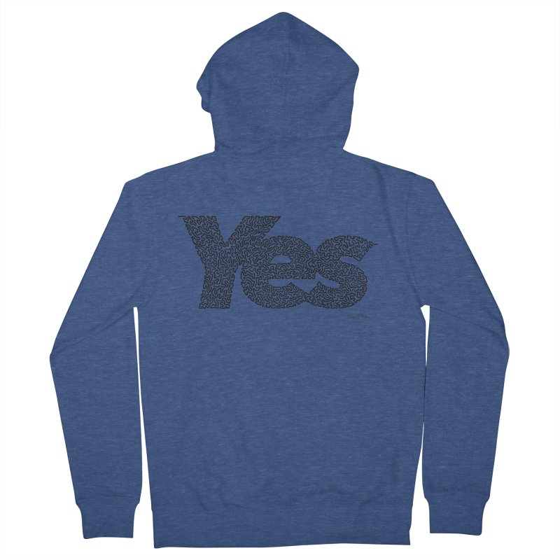 Yes (Black) - One Continuous Line Women's Zip-Up Hoody by Daniel Dugan's Artist Shop