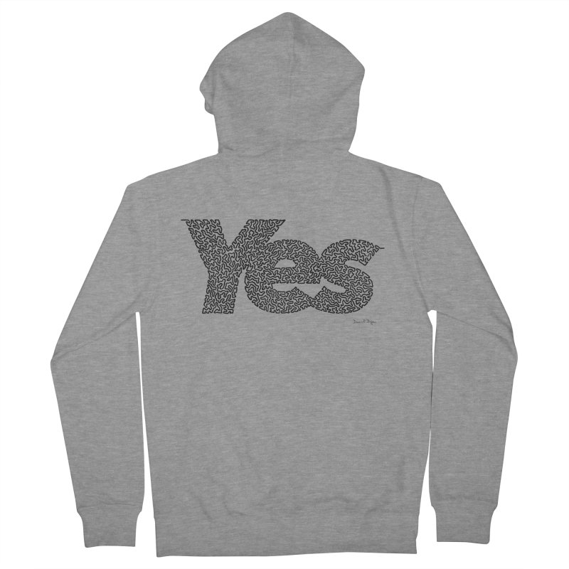 Yes (Black) - One Continuous Line Women's French Terry Zip-Up Hoody by Daniel Dugan's Artist Shop