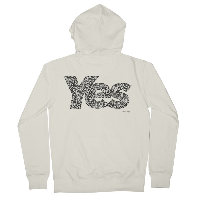 Yes (Black) - One Continuous Line Men's French Terry Zip-Up Hoody by Daniel Dugan's Artist Shop