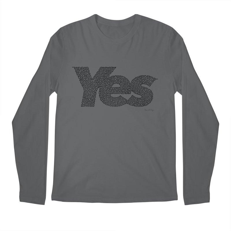 Yes (Black) - One Continuous Line Men's Longsleeve T-Shirt by Daniel Dugan's Artist Shop