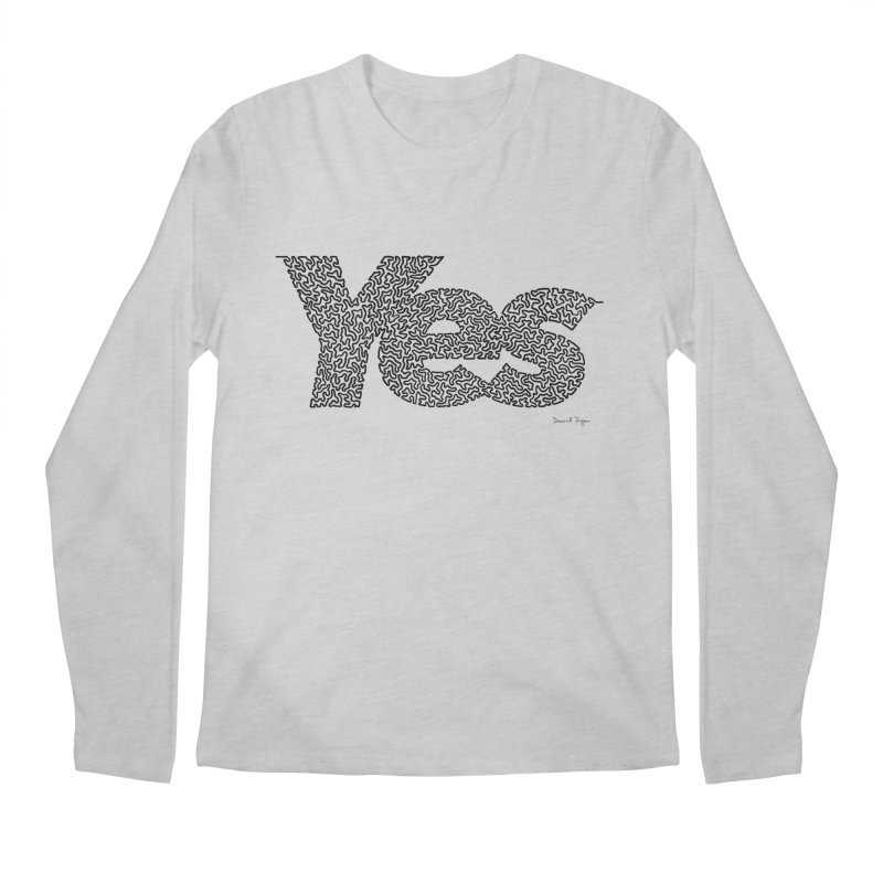 Yes (Black) - One Continuous Line Men's Regular Longsleeve T-Shirt by Daniel Dugan's Artist Shop