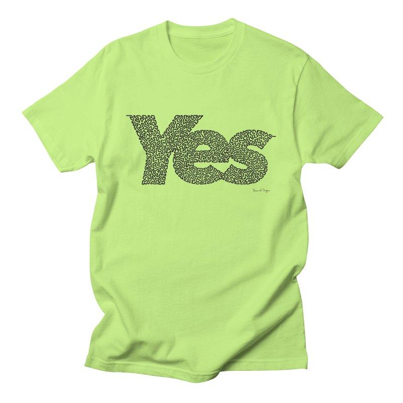 Yes (Black) - One Continuous Line Men's Regular T-Shirt by Daniel Dugan's Artist Shop