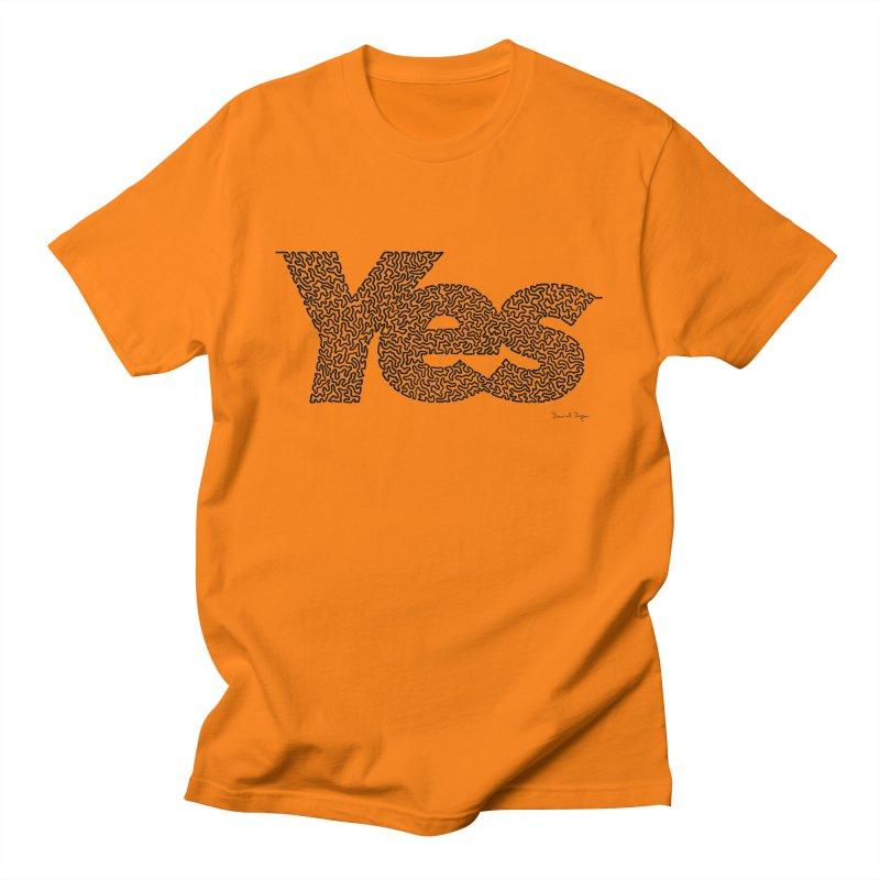 Yes (Black) - One Continuous Line Women's Regular Unisex T-Shirt by Daniel Dugan's Artist Shop