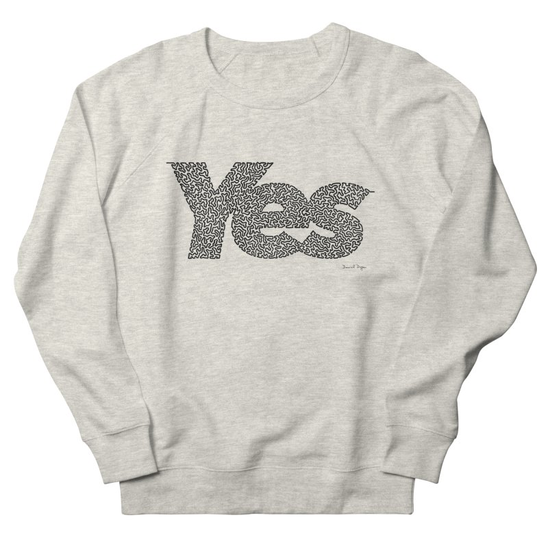 Yes (Black) - One Continuous Line Men's French Terry Sweatshirt by Daniel Dugan's Artist Shop