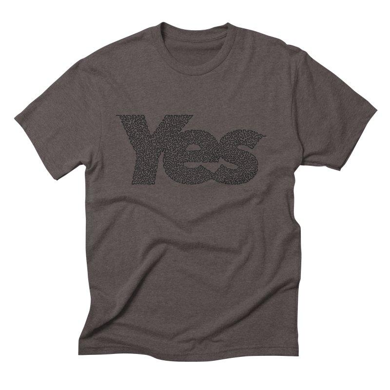 Yes (Black) - One Continuous Line Men's Triblend T-Shirt by Daniel Dugan's Artist Shop