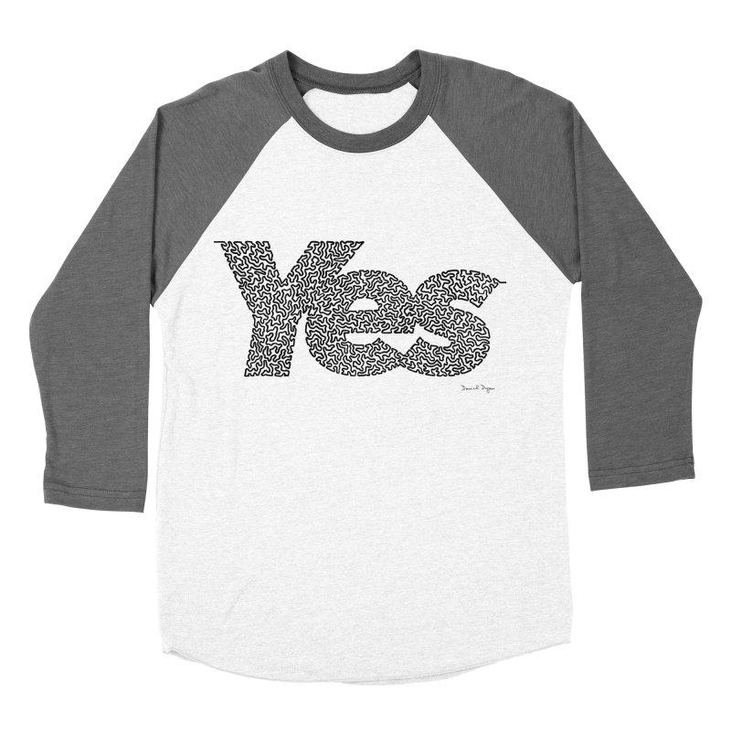 Yes (Black) - One Continuous Line Women's Baseball Triblend Longsleeve T-Shirt by Daniel Dugan's Artist Shop