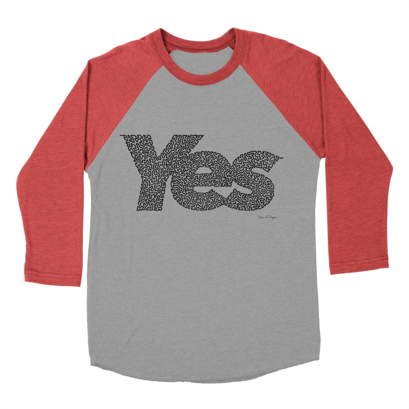 Yes (Black) - One Continuous Line Women's Baseball Triblend T-Shirt by Daniel Dugan's Artist Shop