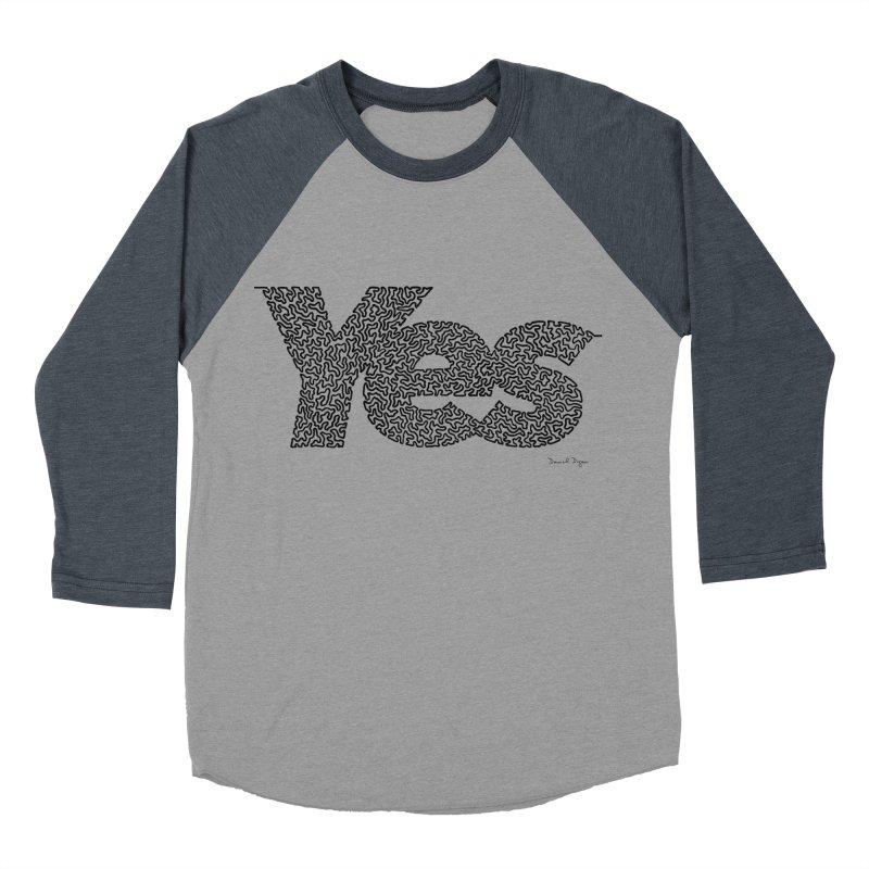 Yes (Black) - One Continuous Line Men's Baseball Triblend T-Shirt by Daniel Dugan's Artist Shop