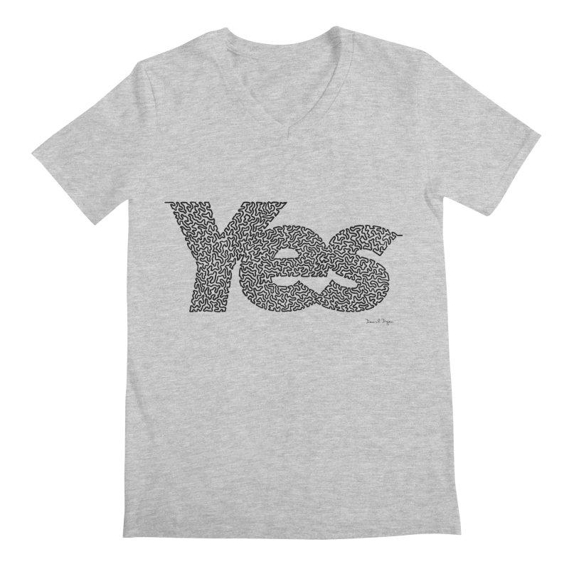 Yes (Black) - One Continuous Line Men's Regular V-Neck by Daniel Dugan's Artist Shop
