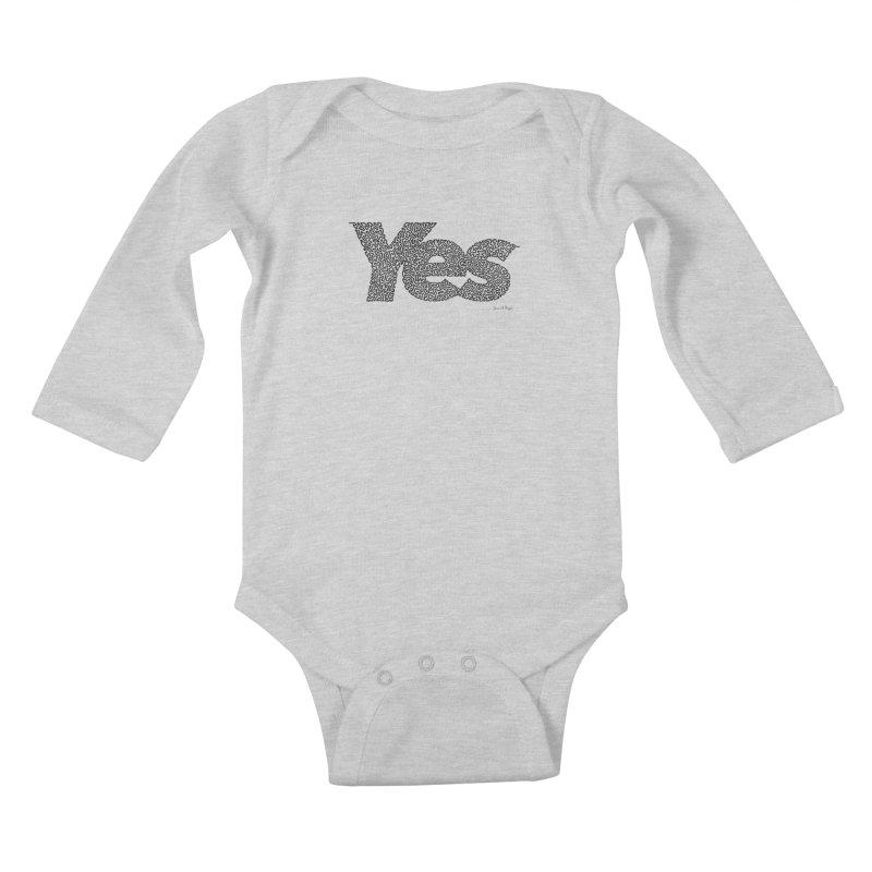 Yes (Black) - One Continuous Line Kids Baby Longsleeve Bodysuit by Daniel Dugan's Artist Shop