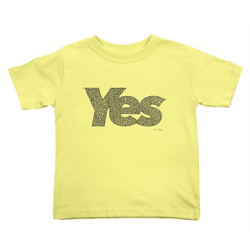 Yes (Black) - One Continuous Line Kids Toddler T-Shirt by Daniel Dugan's Artist Shop