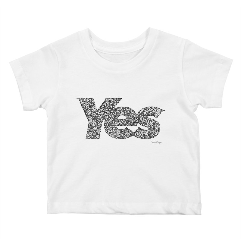 Yes (Black) - One Continuous Line Kids Baby T-Shirt by Daniel Dugan's Artist Shop
