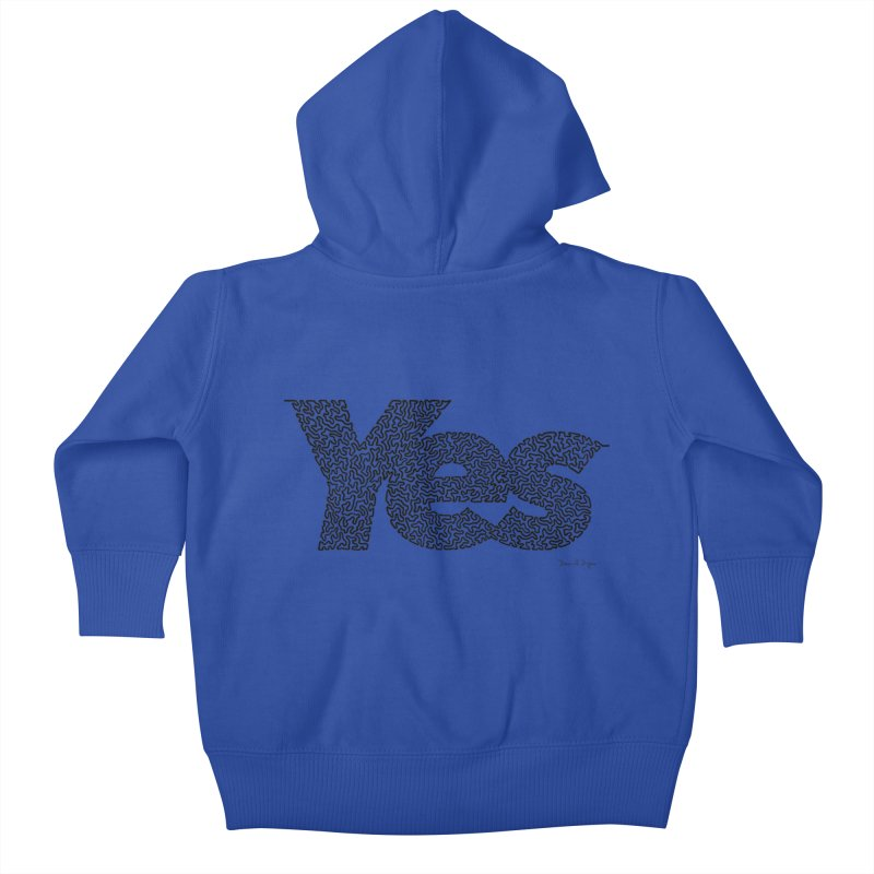 Yes (Black) - One Continuous Line Kids Baby Zip-Up Hoody by Daniel Dugan's Artist Shop