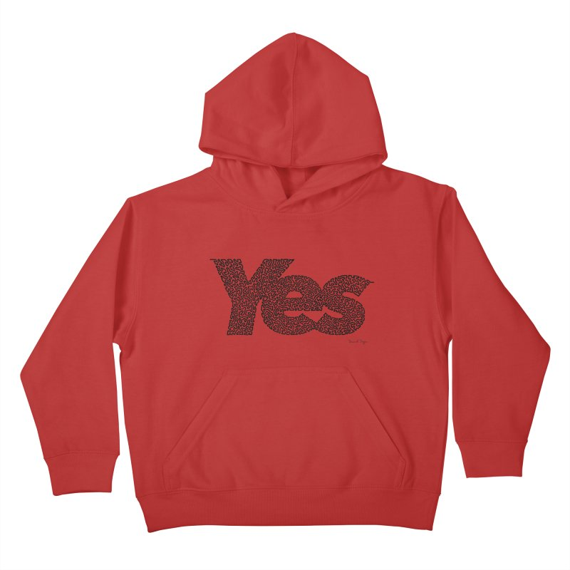 Yes (Black) - One Continuous Line Kids Pullover Hoody by Daniel Dugan's Artist Shop