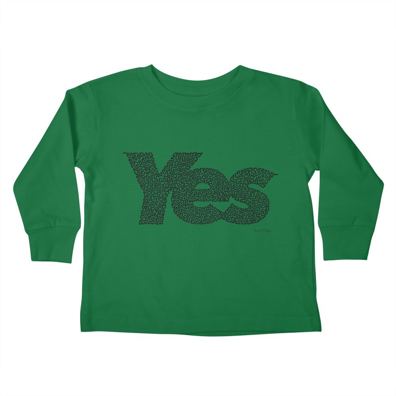 Yes (Black) - One Continuous Line Kids Toddler Longsleeve T-Shirt by Daniel Dugan's Artist Shop