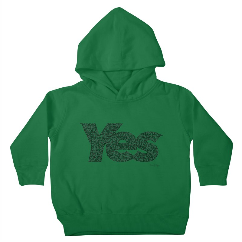 Yes (Black) - One Continuous Line Kids Toddler Pullover Hoody by Daniel Dugan's Artist Shop