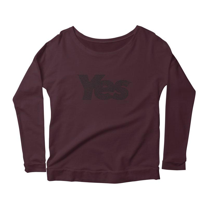 Yes (Black) - One Continuous Line Women's Scoop Neck Longsleeve T-Shirt by Daniel Dugan's Artist Shop