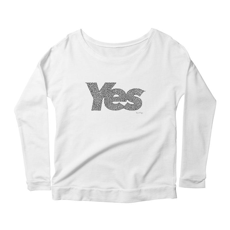 Yes (Black) - One Continuous Line Women's Longsleeve Scoopneck  by Daniel Dugan's Artist Shop