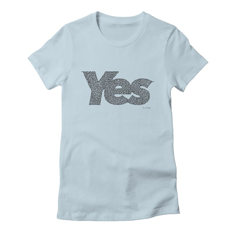 Yes (Black) - One Continuous Line Women's Fitted T-Shirt by Daniel Dugan's Artist Shop