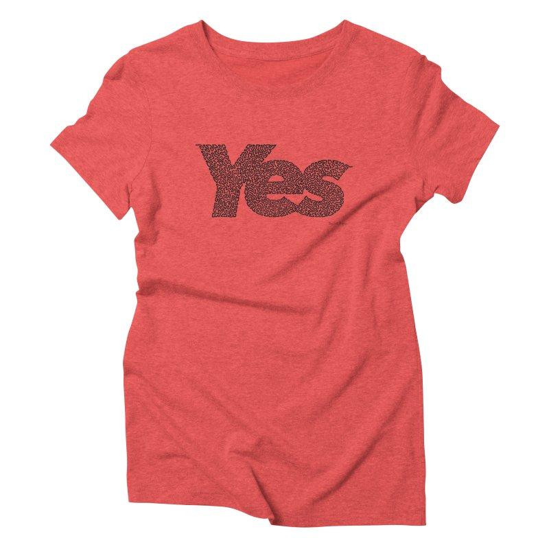 Yes (Black) - One Continuous Line Women's Triblend T-Shirt by Daniel Dugan's Artist Shop