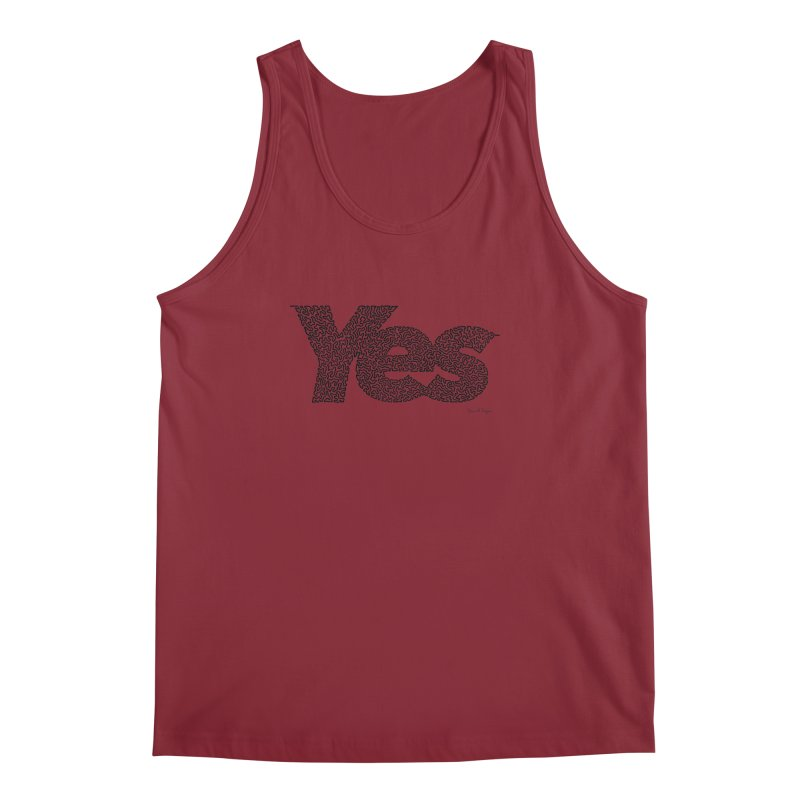 Yes (Black) - One Continuous Line Men's Tank by Daniel Dugan's Artist Shop