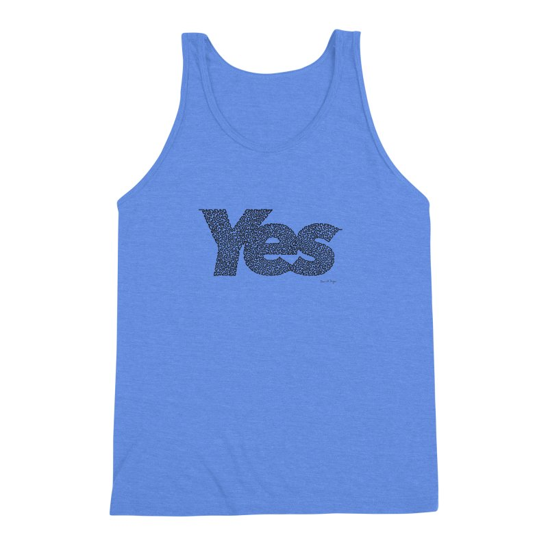 Yes (Black) - One Continuous Line Men's Triblend Tank by Daniel Dugan's Artist Shop