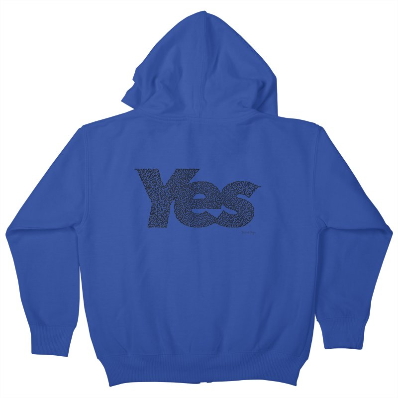Yes (Black) - One Continuous Line Kids Zip-Up Hoody by Daniel Dugan's Artist Shop